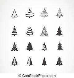komplet, drzewo, boże narodzenie, ikony