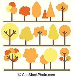 komplet, drzewo, odizolowany, ilustracja, wektor, tło, biały, ikona