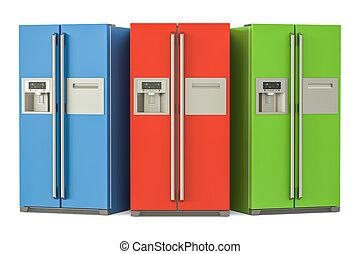 komplet, drzwi, barwny, chłodnie, system, przedstawienie, ...
