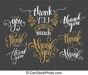 komplet, dziękować, ilustracja, ręka, wektor, ty, zwyczaj, lettering.