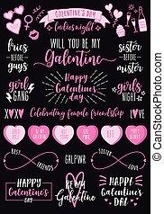 komplet, dzień, dzień, galentines, partia, samica, wektor, list miłosny
