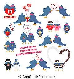 komplet, dzień, valentine, wektor, lovebirds, płaski