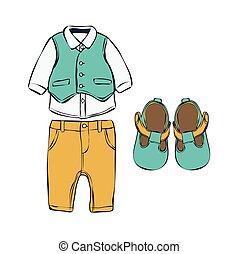 komplet, dzieci, clothes.