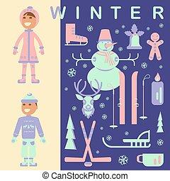komplet, dzieci, zima ubranie