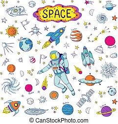 komplet, dzieciaki, elements., rakieta, ufo, doodle, graficzny, próbka, ręka, planeta, wektor, space., meteor, wszechświat, modny, pociągnięty, kosmos, astronomia