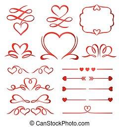 komplet, dzielący, calligraphic, elementy, strzały, valentine, dzień, czerwony