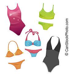 komplet, dziewczyny, swimsuits