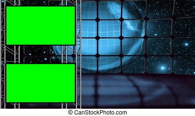 komplet, ekran, zielona ziemia, studio, pętla