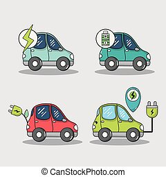 komplet, elektryczny, bateria, wóz, energia, technologia, recharge