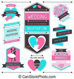 komplet, elements., ślub, projektować, retro, zaproszenie