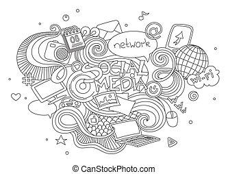 komplet, elements., media, symbol, odizolowany, ilustracja, ręka, wektor, tło, towarzyski, pociągnięty, biały, znak, doodle, rysunek
