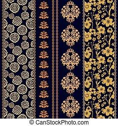 komplet, elements., seamless, batik, cygan, brzegi