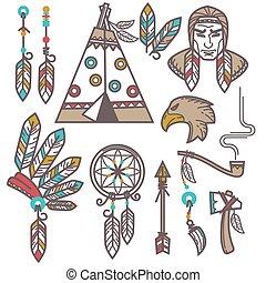 komplet, elementy, Zachód, amerykanka, indianin,...