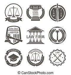 komplet, emblemat, biuro, etykiety, wektor, prawnik, prawo,...