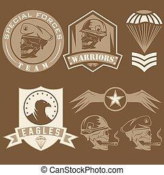 komplet, emblemat, wektor, projektować, jednostka, szablon, wojskowy, szczególny