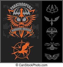 komplet, emblemat, wektor, projektować, jednostka, wojskowy...