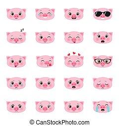 komplet, emojis, świnie
