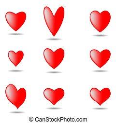 komplet, eps10., odizolowany, ilustracja, valentine, tło., wektor, serca, biały, dzień