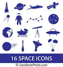 komplet, eps10, przestrzeń, ikona