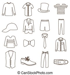 komplet, eps10, szkic, prosty, menu, odzież, ikona