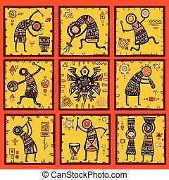 komplet, etniczny, tła, wzory, afrykanin, 9