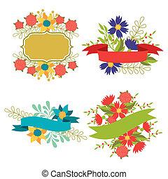 komplet, etykiety, elementy, projektować, wstążki, kwiaty