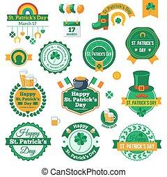 komplet, etykiety, graficzny, patrick's, święty, dzień, design.