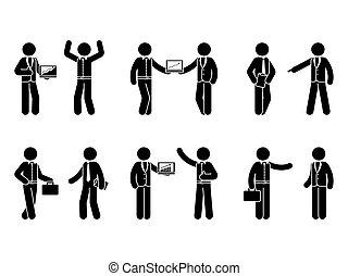 komplet, figura, handlowy, wtykać, kooperacja, ikona