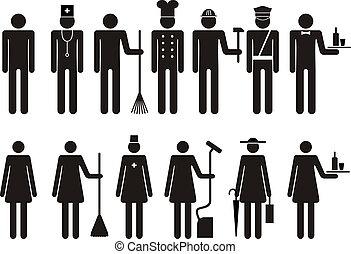 komplet, figura, ikony, ludzie, praca, okupacja