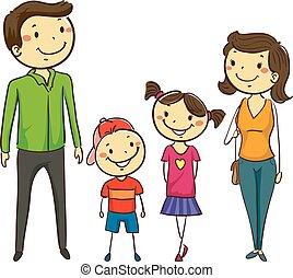 komplet, figury, wtykać, rodzina