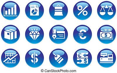 &, komplet, finanse, handlowe ikony