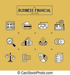 komplet, finansowy, handlowy, ikona