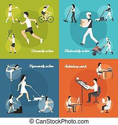 komplet, fizyczna działalność