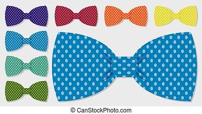 komplet, format., polka, łuk, wektor, krawat, kropka
