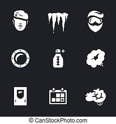 komplet, freezing., wektor, laboratorium, capsule., cryogenic