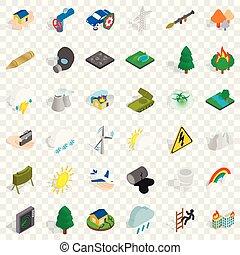 komplet, góry, isometric, styl, ikony