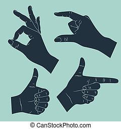 komplet, gesturing, ręka