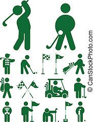 komplet, golf, ikona