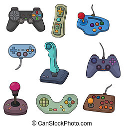 komplet, gra, joystick, rysunek, ikona