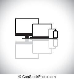 komplet, graphic., nowoczesny, laptop, gadżety, projektować, składa, sieć, tabliczka, ikony, -, desktop, komórka, pc komputer, hydromonitor, używany, telefon, notatnik, telefon, graficzny, podobny, to, ruchomy, wektor, albo