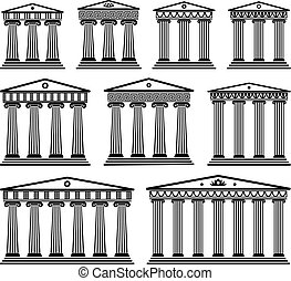 komplet, grek, wektor, architektura, starożytny, kolumny