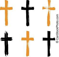 komplet, grunge, collectio, ikony, krzyż, żółty, hand-drawn,...