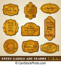 komplet, grunge, frames., etykiety, wektor, retro, zaproszenie, ornaments.