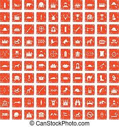 komplet, grunge, ikony, pomarańcza, 100, jazda konna
