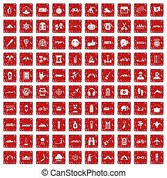 komplet, grunge, ikony, przygoda, 100, czerwony