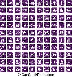 komplet, grunge, ikony, purpurowy, 100, jazda konna
