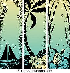 komplet, grunge, ilustracja, banners., wektor, morze