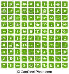 komplet, grunge, ogród, ikony, materiał, zielony, 100