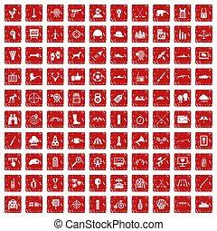 komplet, grunge, tarcza, ikony, 100, czerwony