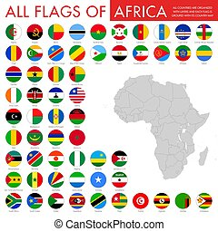 komplet, guzik, bandera, wektor, afrykanin, krajowy